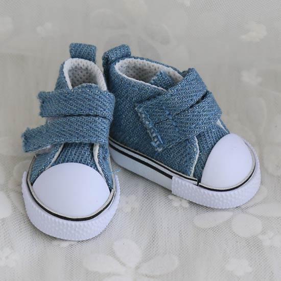 Обувь для кукол Кеды 5 см на липучках (джинсовые, деним)